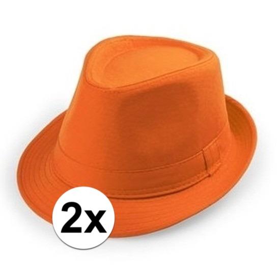 2x Oranje trilby verkleed hoedjes voor volwassenen