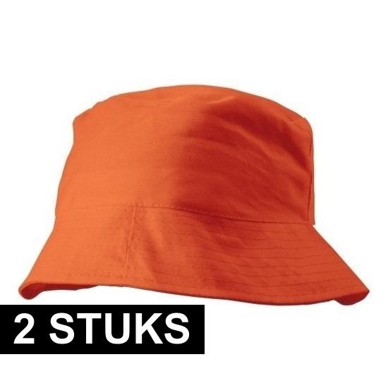 2x Oranje vissershoedjes/zonnehoedjes voor volwassenen