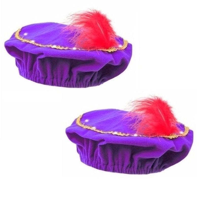2x Pietenmuts paars met LED verlichting voor kinderen