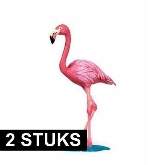 2x Plastic speelgoed dieren flamingos 8 cm