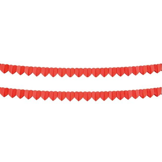 2x Rode hartjes slinger 4 meter