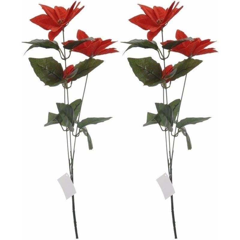 2x Rode Kerstster bloem 66 cm