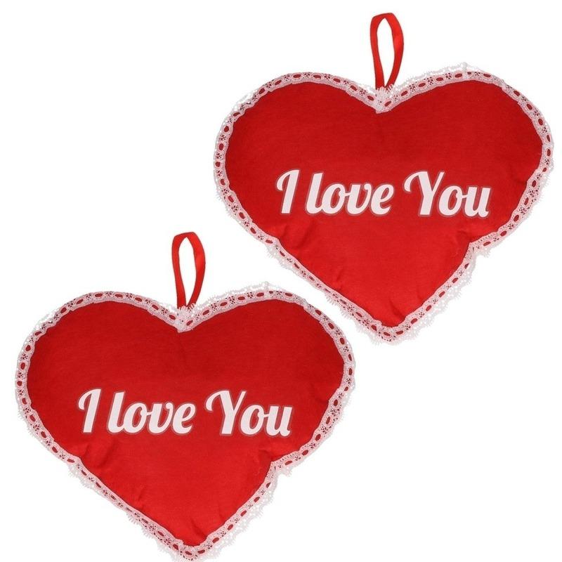 2x Rood hart I Love You vilten hangdecoratie 21 x 27 cm