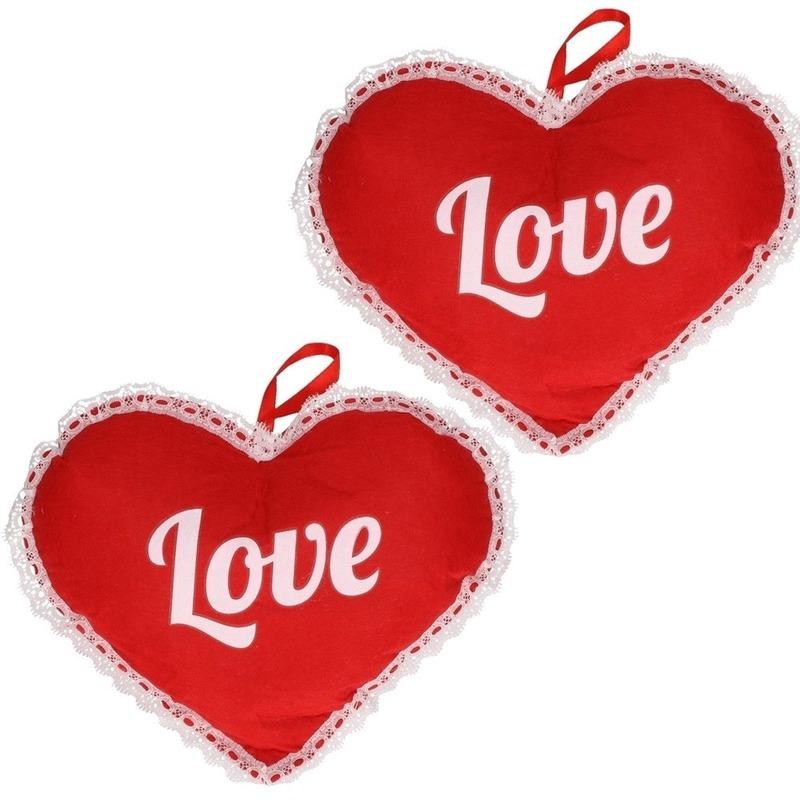 2x Rood hart Love vilten hangdecoratie 21 x 27 cm
