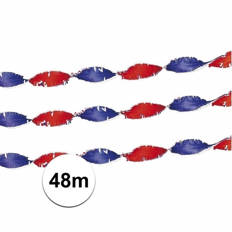 2x stuks crepe slingers Holland rood-wit-blauw