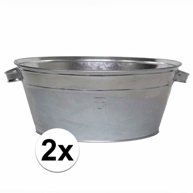 2x stuks Ronde zilveren zinken teilen 11 liter