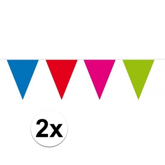 2x vlaggenlijn - slinger XXL meerkleurig 10 meter