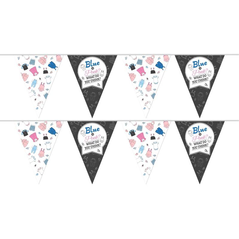 2x Vlaggenlijnen gender reveal party/feest slingers 10 meter