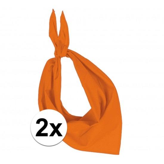 2x Zakdoek bandana oranje