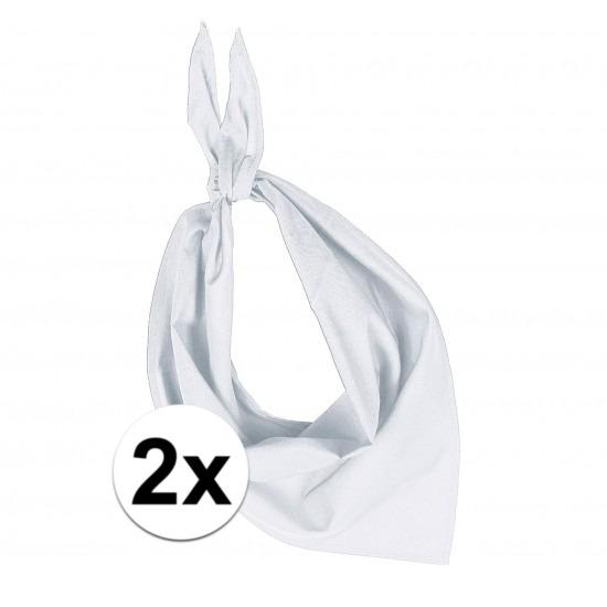 2x Zakdoeken bandana wit