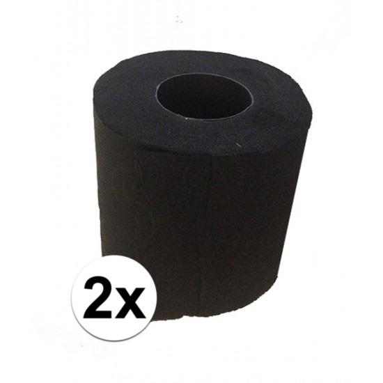 2x Zwart toiletpapier