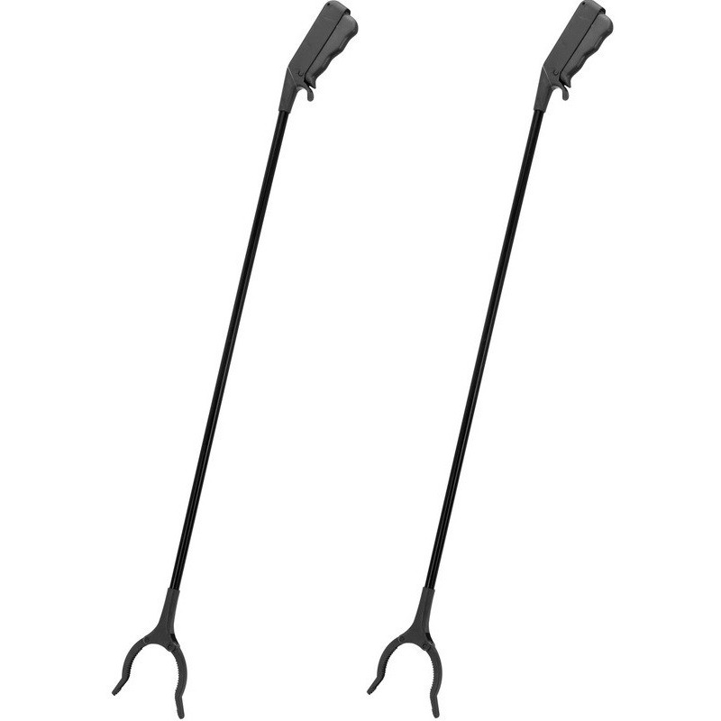 2x Zwarte afvalgrijpers/grijparmen 82 cm