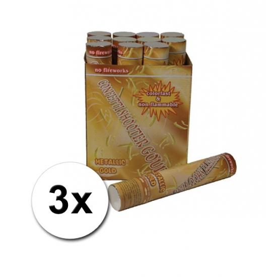 3 confetti shooters 30 cm goud