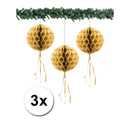 3 papieren Kerst decoratie ballen goud 30 cm