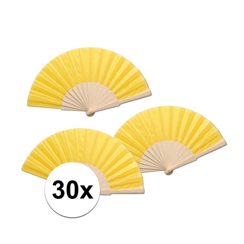 30 stuks zomerse Spaanse waaiers geel