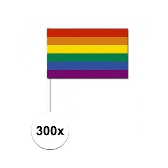 300x Zwaaivlaggetjes met regenboog 12 x 24 cm