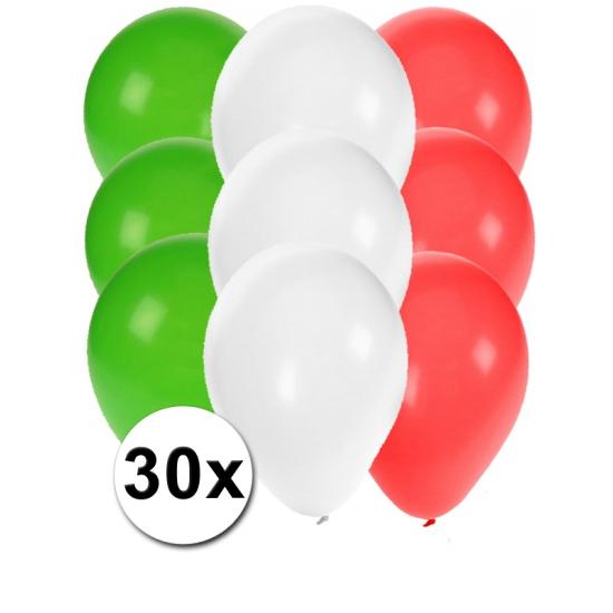 30x Ballonnen in Italiaanse kleuren
