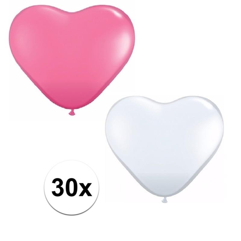 30x bruiloft ballonnen wit - roze hartjes versiering