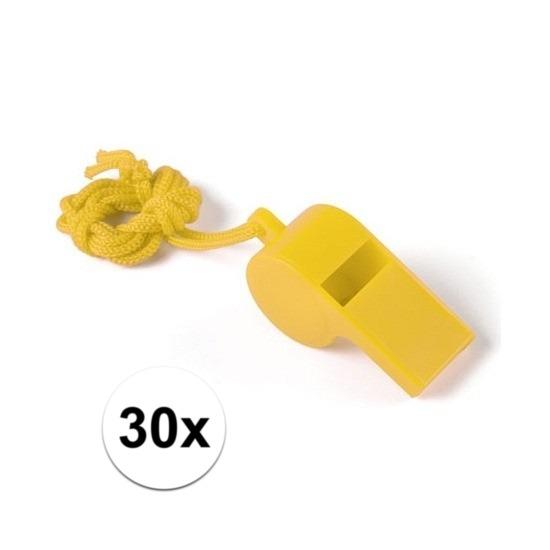 30x Geel fluitje aan koord