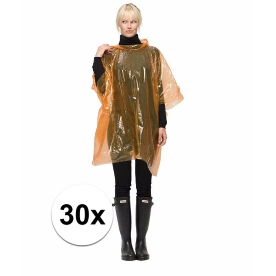 30x oranje wegwerp regenponcho
