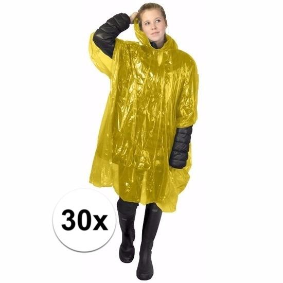 30x wegwerp regenponcho geel