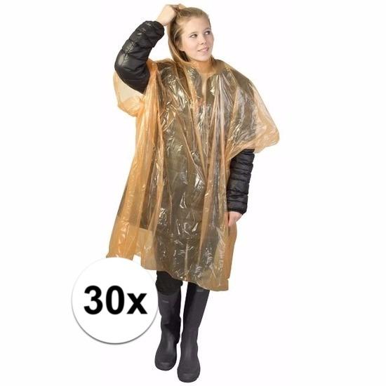 30x wegwerp regenponcho oranje