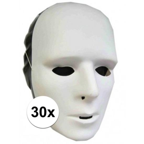 30x Witte grimeer maskers van plastic