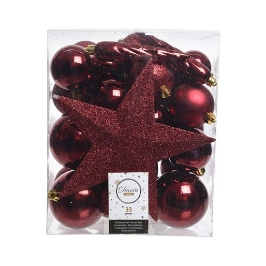 33x Donkerrode kerstballen met ster piek 5-6-8 cm kunststof mix