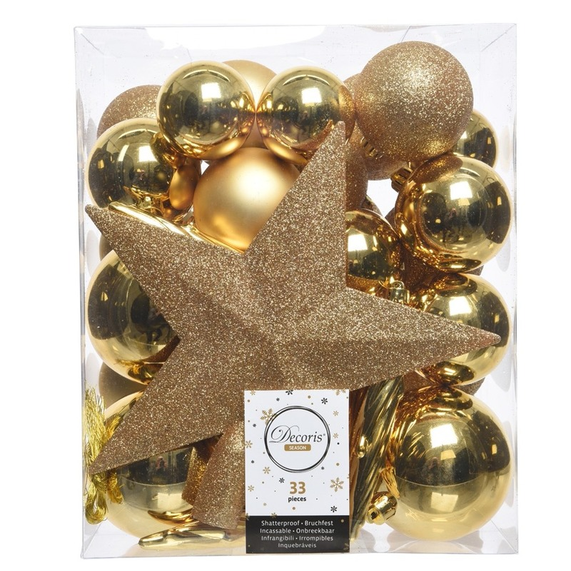 33x Gouden kerstballen met ster piek 5-6-8 cm kunststof mix