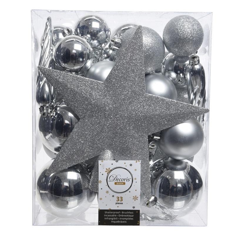 33x Zilveren kerstballen met ster piek 5-6-8 cm kunststof mix