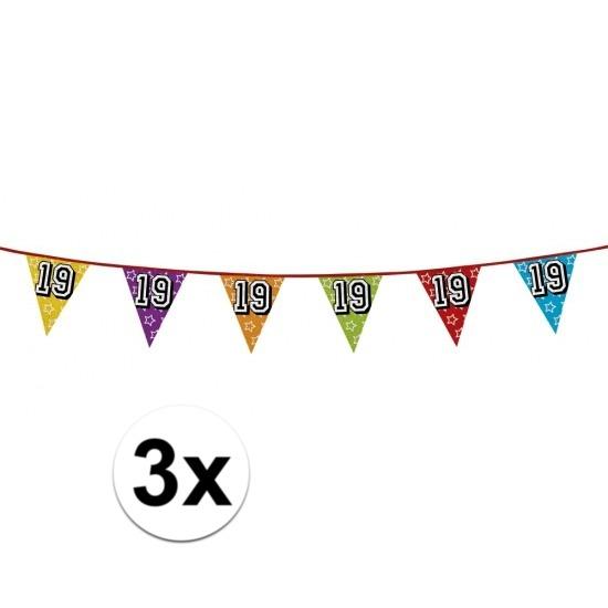 3x 19 jaar vlaggenlijn glitters
