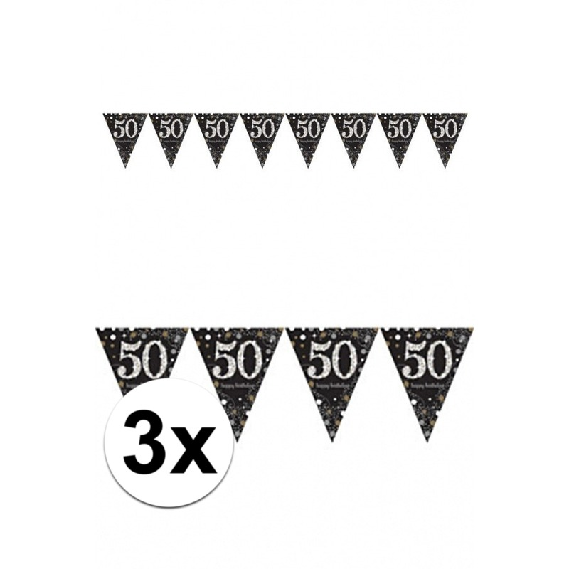 3x 50 jaar vlaggenlijn zwart