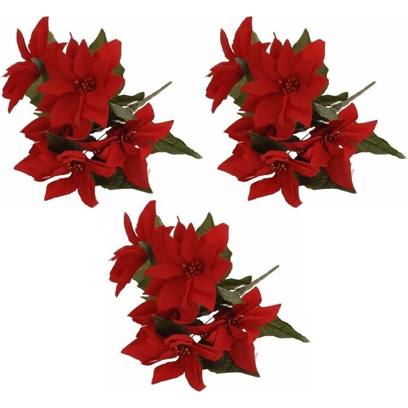 3x Bosje Kerstster bloemen 30 cm