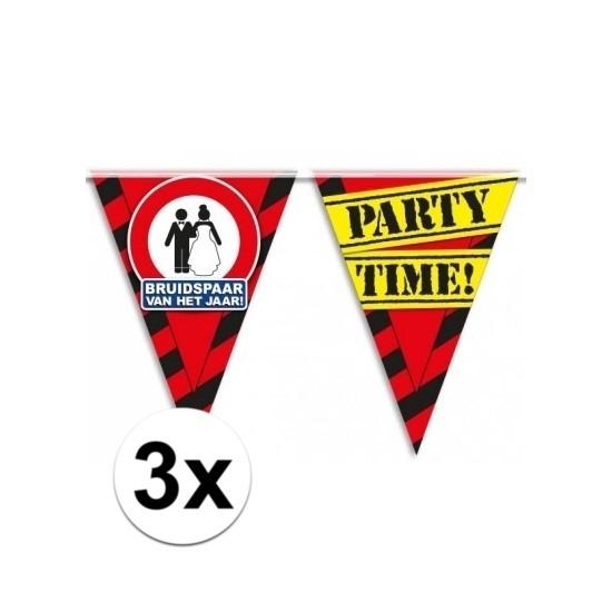 3x Bruidspaar vlaggenlijn waarschuwingsbord 10mtr