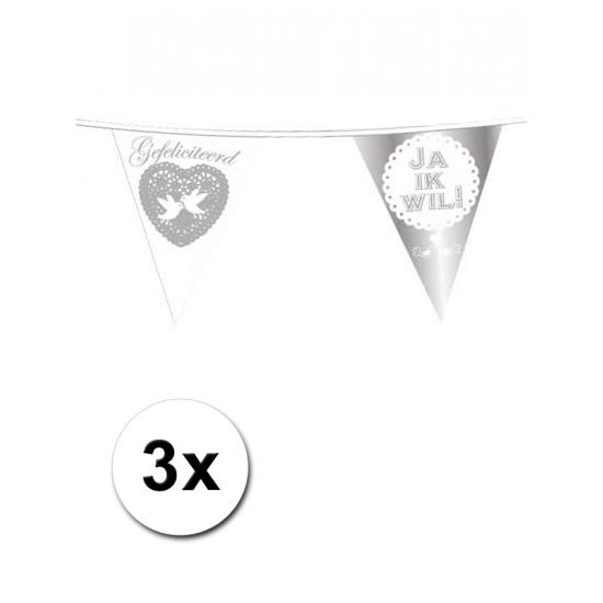 3x bruiloft vlaggenlijn Ja ik wil