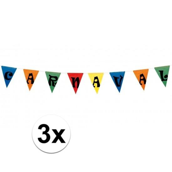 3x Carnaval vlaggenlijn / slinger 10 meter