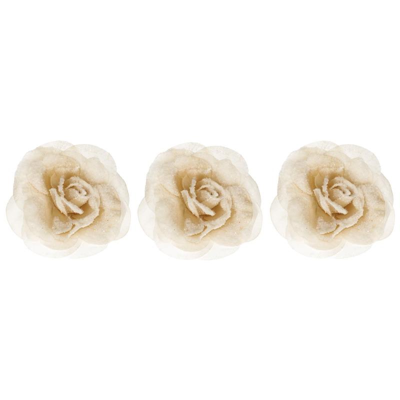 3x Champagne roos kerstversiering clip decoratie 12 cm