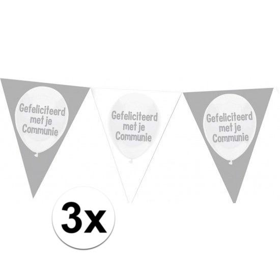 3x Communie vlaggenlijnen 10 meter