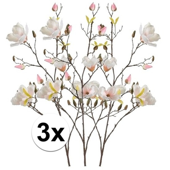3x Creme Magnolia kunstbloemen tak 105 cm