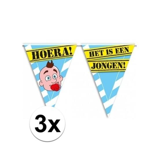 3x Geboorte vlaggenlijn jongen waarschuwingsbord 10mtr