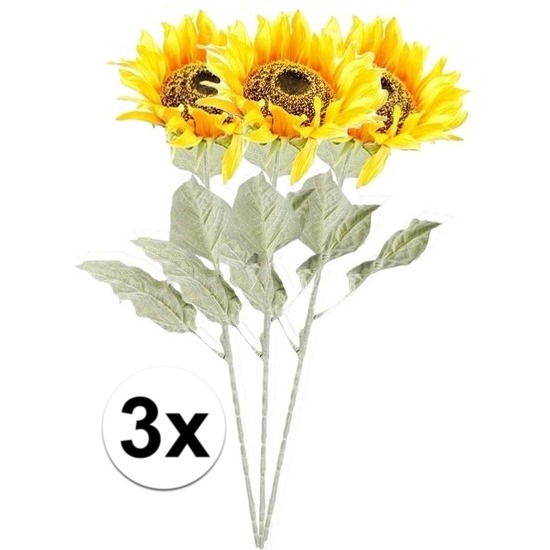 3x Gele zonnebloem kunstbloemen 82 cm