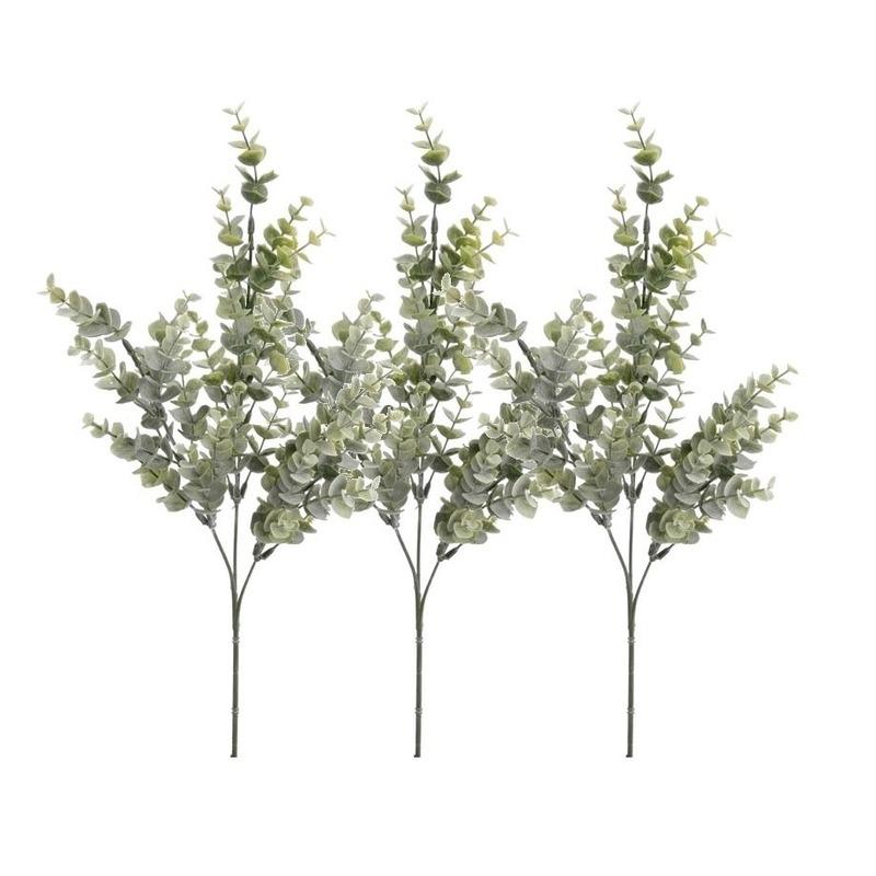 3x Groene Eucalyptus kunsttakken kunstplanten 68 cm