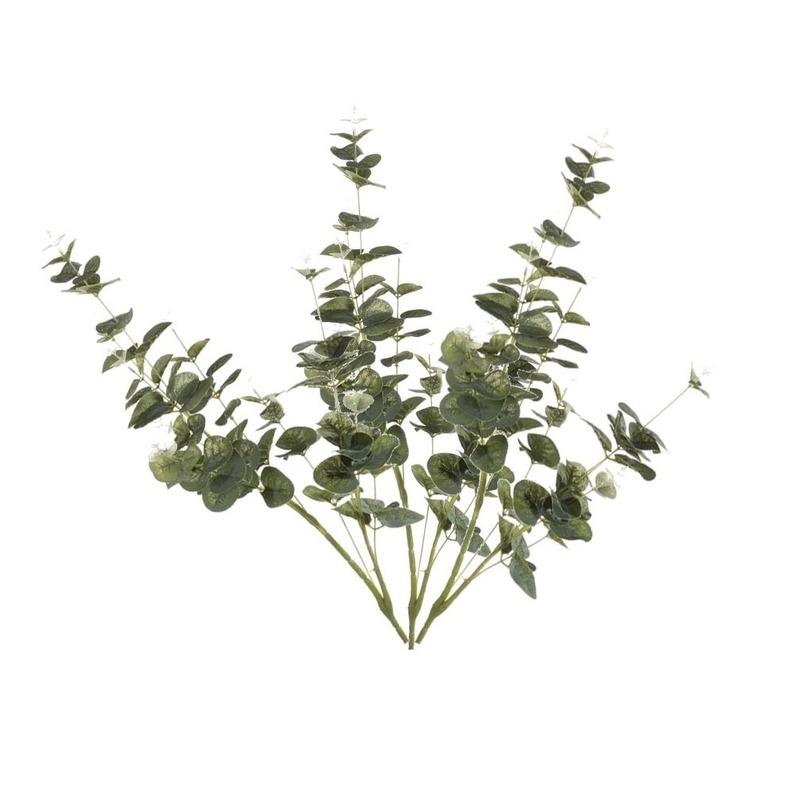 3x Groene Eucalyptus kunsttakken kunstplanten 75 cm