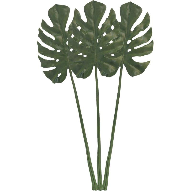3x Groene Monstera/gatenplant blad kunsttak kunstplant 85 cm