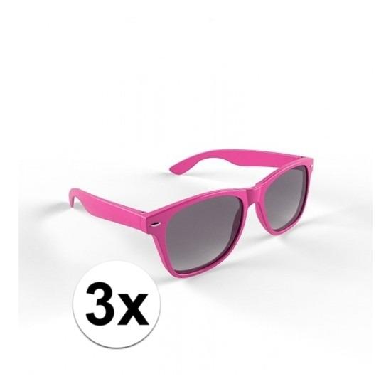 3x Hippe roze zonnebrillen voor volwassenen