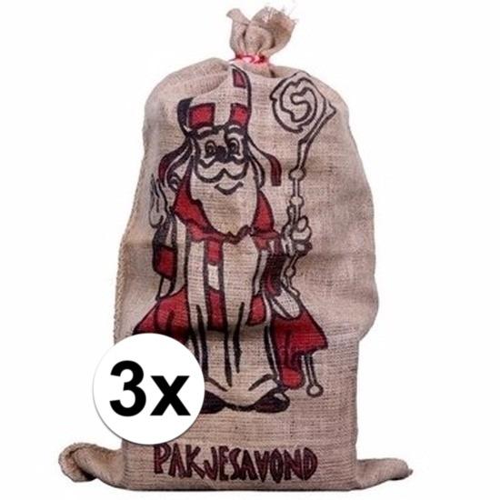 3x Jute zakken voor Sinterklaas 60 x 102 cm