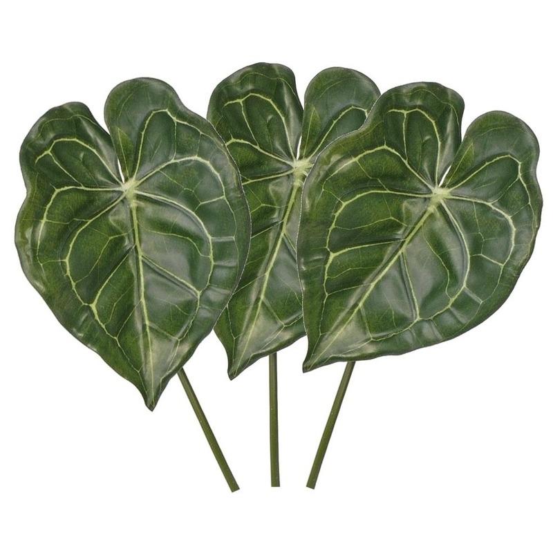 3x Kunstplanten Anthurium bladgroen takken 67 cm