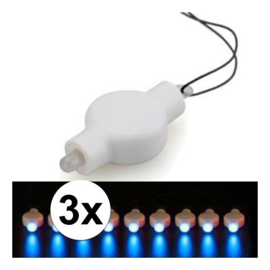 3x Lampion LED lampje blauw