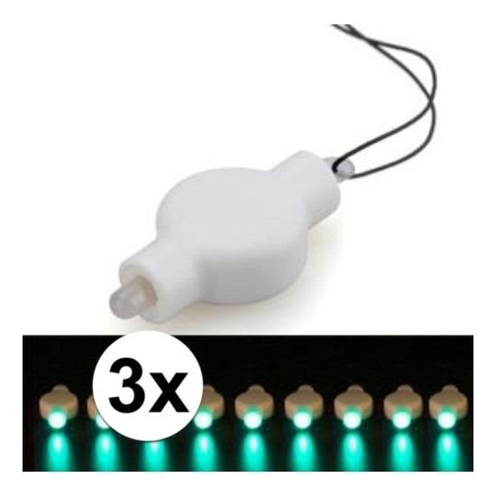 3x Lampion LED lampje groen