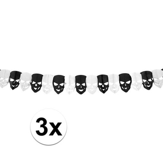 3x Mini vlaggenlijn - slinger doodskop - 300 cm